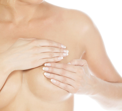 Breast cancer, woman holding her breast, isolated on white background